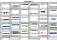 Calendrier des évènements 2017