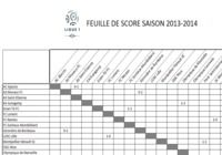Feuille de Score Ligue 1 2013-2014