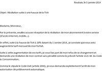 lettre résiliation hausse TVA 2014