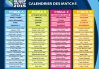 Calendrier complet de la coupe du monde de rugby 2015