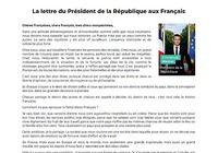 La lettre du Président de la République aux Français