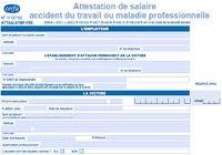 Formulaire d'attestation de salaire accident du travail ou maladie professionnelle