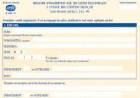 Formulaire d'inscription sur les listes éléctorales