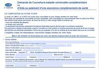 Formulaire de demande de couverture de maladie universelle complémentaire