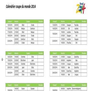 Dates et horaires des matchs de la coupe du monde 2014 - Tableau final coupe du monde 2014 ...