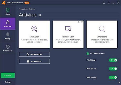 Avast! Premier Antivirus 2017 bêta