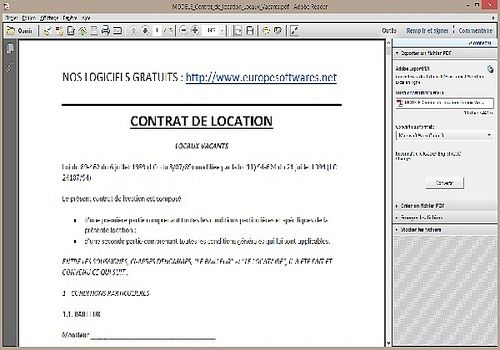 Modele contrat de location pdf table de lit - Contrat de location meublee a usage d habitation ...