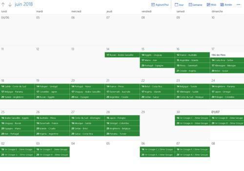Planning Coupe du Monde 2018