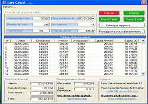 T l charger easy calcul pour windows freeware - Calcul tableau d amortissement emprunt excel ...