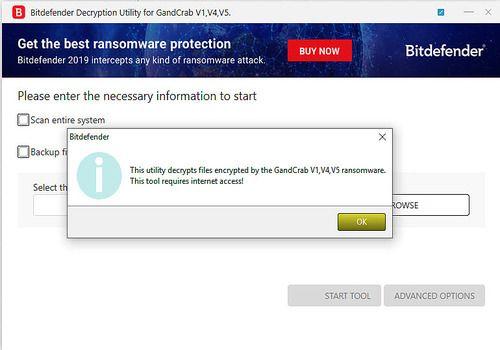 Bitdefender GandCrab Decryption Tool
