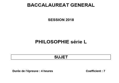 Bac 2018 - Philosophie - Série L