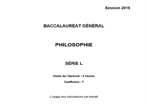 Bac 2016 Philosophie - Série L