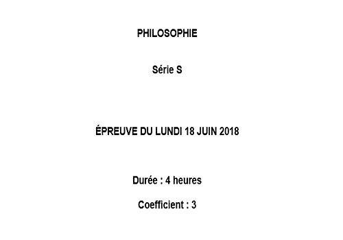 Bac 2018 Philosophie Série S