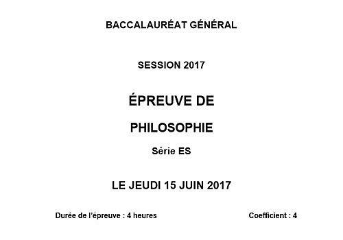 Bac 2017 Philosophie - Série ES