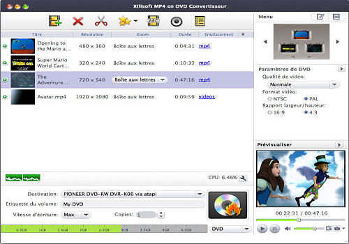 Xilisoft MP4 en DVD Convertisseur Mac