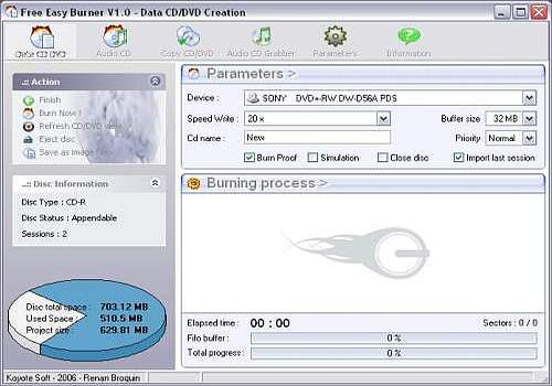 Télécharger Free Easy CD DVD Burner pour Windows | Freeware