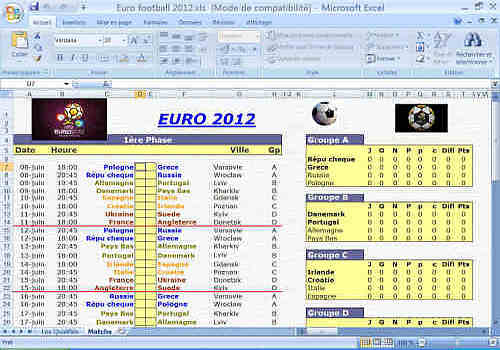 tableau rencontre euro 2012 excel