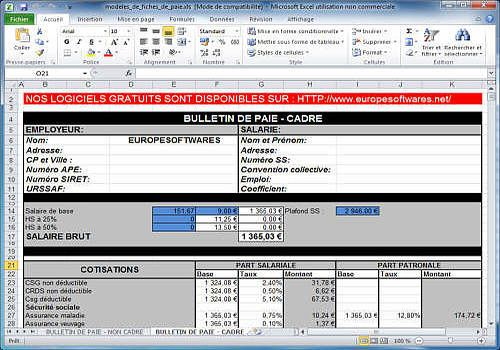Relativ Modèles de fiches de paie cadre et non cadre à télécharger UU71