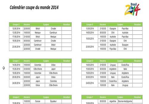 Dates et horaires des matchs de la coupe du monde 2014 - Calendrier eliminatoire coupe du monde ...