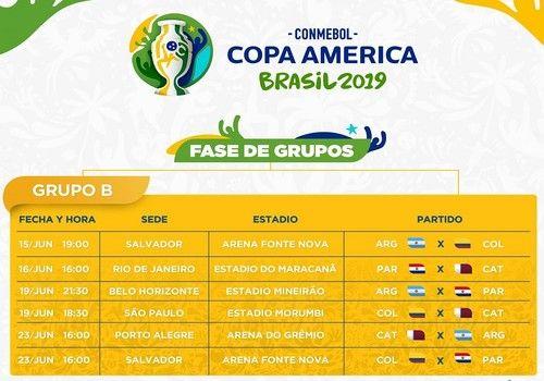 Calendrier Phase de Groupes Copa America 2019