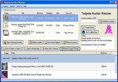t l charger tadpole auction watcher pour windows freeware. Black Bedroom Furniture Sets. Home Design Ideas