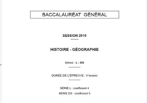 Sujet Histoire-Géo Bac L et ES 2016