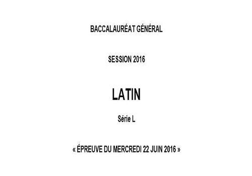 Bac 2016 Latin - L