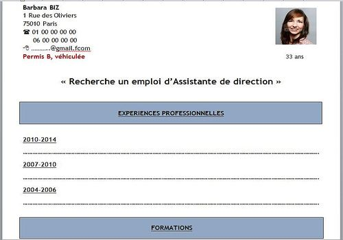Modèle de CV simple