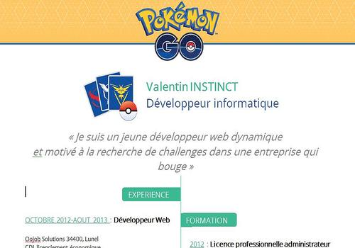 Modèle CV Pokemon Go Word