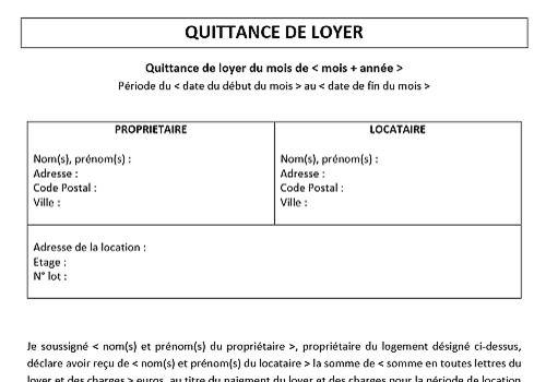 Quittance de loyer PDF