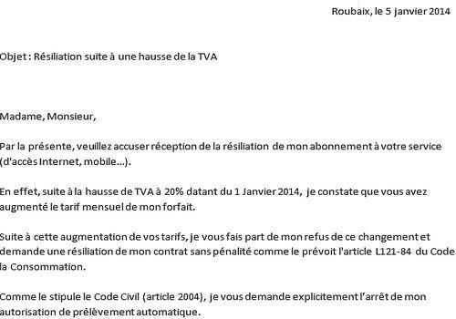 lettre de résiliation en anglais Modèle de lettre résiliation hausse TVA 2014 à télécharger lettre de résiliation en anglais