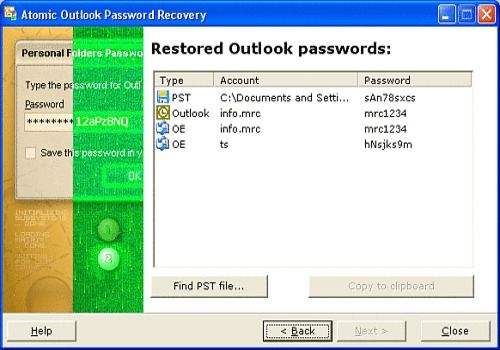 Atomic Outlook Password Recovery