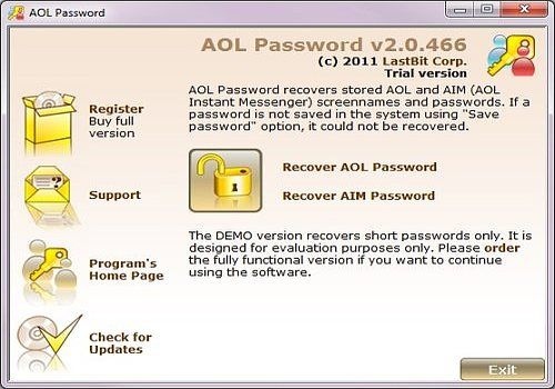 LastBit AOL Password Recovery