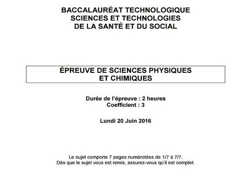 Bac 2016  Physique-Chimie ST2S