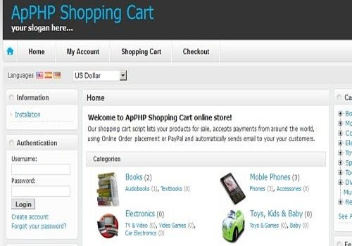 ApPHP Shopping Cart ecommerce software