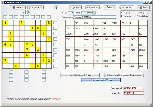 SUDOKU logiciel freeware