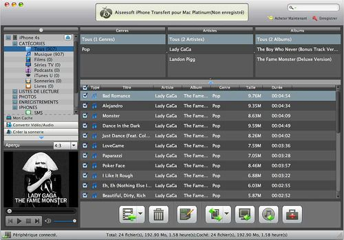 Aiseesoft Mac iPhone Transfert Platinum