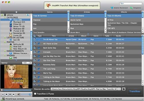 AnyMP4 Transfert iPad-Mac Ultime pour Mac