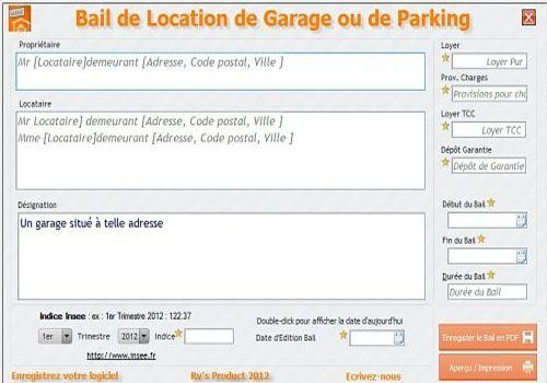 Modele bail garage word document online for Location de garage