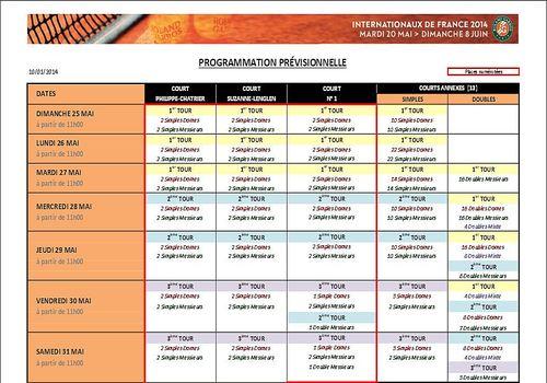 Programme rencontre roland garros