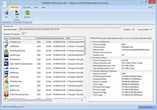 KillProcess 4.0, a Windows Processes Explorer and Killer