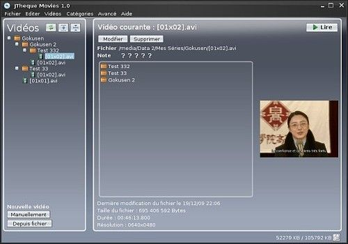 JTheque Movies pour Linux