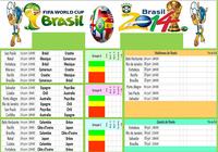 Calendrier Coupe du Monde Brésil 2014