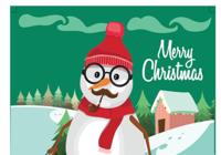 Carte de Noël 2018 avec bonhomme de neige au format Word