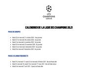 Calendrier de la ligue des champions 2020/21