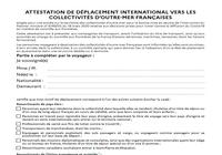 Attestation de déplacement international vers les collectivités d'Outre-Mer françaises