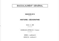 Bac Histoire-Géographie 2016 Séries L et ES Pondichéry