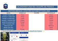 Calendrier Equipe de France de Football