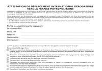 Attestation de déplacement dérogatoire vers la France métropolitaine