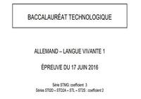 Bac 2016 Allemand LV1 Séries Technologiques